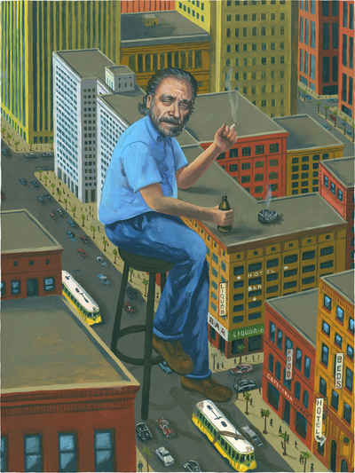 Portrait painting of charles bukowski with him sitting on an urban landscape while having a drink and a cigarette.