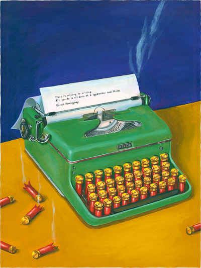 portrait painting of Ernest Hemingway  where he is represented by a typewriter with shotgun shells as a keyboard.