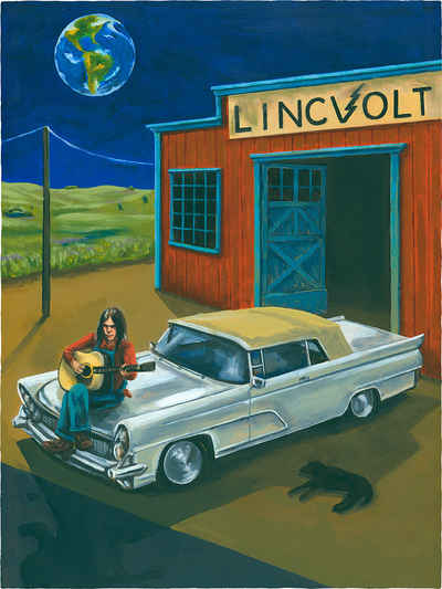portrait painting of Neil Young with him leaning on his custom built car in a prairie landscape with the earth hovering where the moon usually shines.
