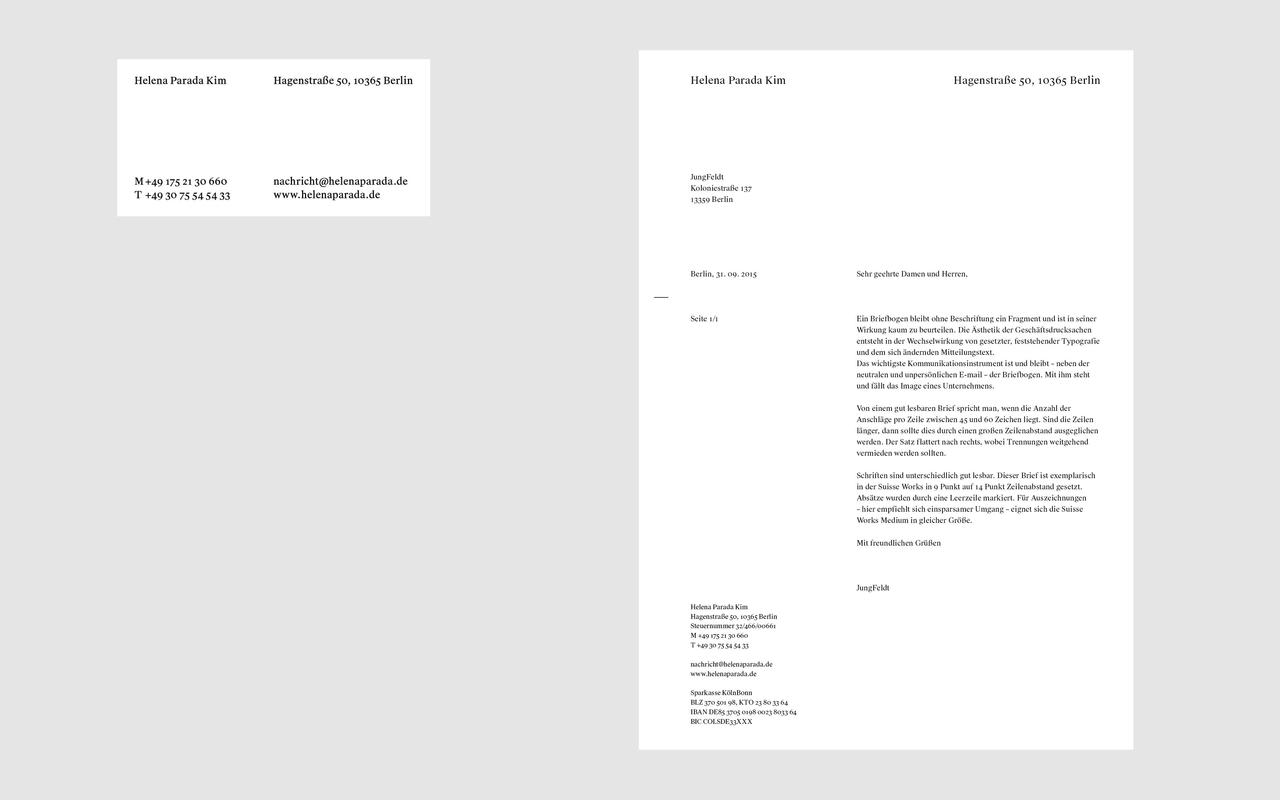 Jungfeldt helena parada kim the printed material helenas visual identity for business cards reheart Gallery