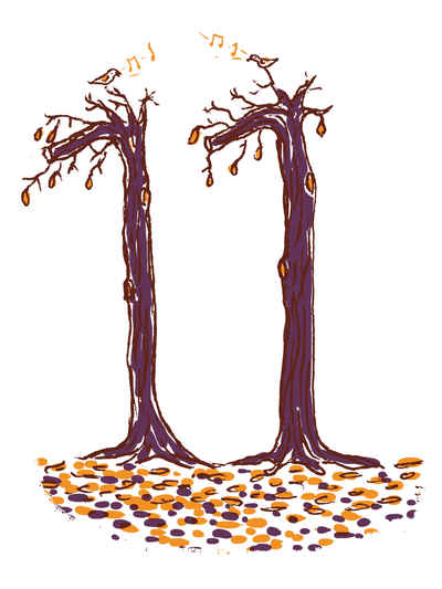 two leafless trees make up the number eleven illustrating the autumn month november