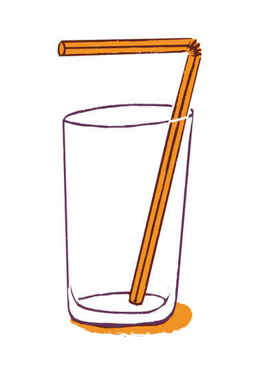 A straw in an empty glass, making out number 7 for july