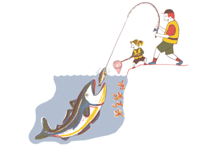 Traditional fishing with fishing rod from land