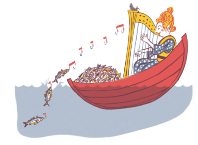 woman playing a harp luring the fish into her boat